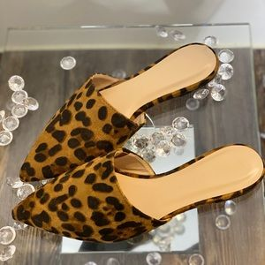 Suede animal print loafers